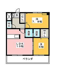 パークサイドK2[3階]の間取り