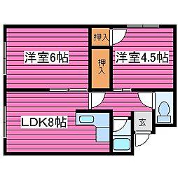 北海道札幌市北区太平三条4丁目の賃貸アパートの間取り