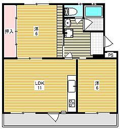 富田第二住宅64棟[5階]の間取り