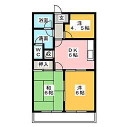 ルピナス花池 A棟[2階]の間取り