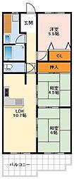 南海高野線 萩原天神駅 徒歩3分の賃貸マンション 2階3LDKの間取り