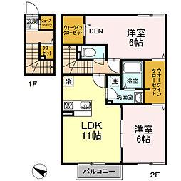 東京都羽村市富士見平1丁目の賃貸アパートの間取り
