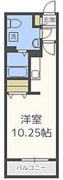 福岡市地下鉄空港線 唐人町駅 徒歩4分の賃貸マンション 4階ワンルームの間取り