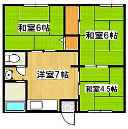 兵庫県姫路市広畑区才の賃貸アパートの間取り