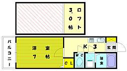 ルート古賀[2階]の間取り