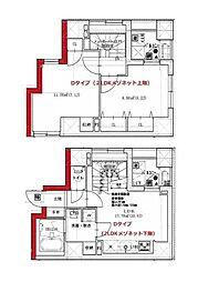 都営大江戸線 月島駅 徒歩2分の賃貸マンション 3階2LDKの間取り