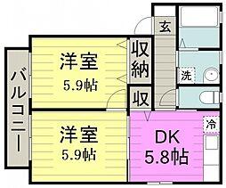 サウスーU 2階2DKの間取り