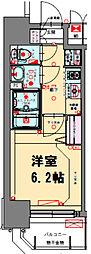 プレサンス梅田北アーリー 9階1Kの間取り