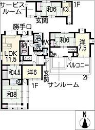 [一戸建] 愛知県津島市古川町1丁目 の賃貸【/】の間取り