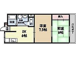 天王田ファミリーハイツ1番館 2階2DKの間取り