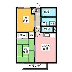 サンガーデン太子D[2階]の間取り
