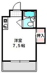 Osaka Metro谷町線 守口駅 徒歩5分の賃貸マンション 3階ワンルームの間取り