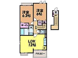愛媛県松山市小坂4丁目の賃貸アパートの間取り