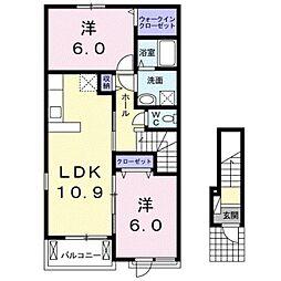 ラ・フランセ上高間木B[2階]の間取り