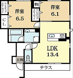メゾンWATARI B棟[1階]の間取り
