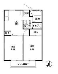 ホーユーハイツB[2階]の間取り