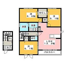 グレイスNagamoriIII A棟[2階]の間取り