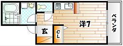 福岡県北九州市小倉南区守恒本町1丁目の賃貸アパートの間取り