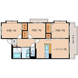JR東海道本線 静岡駅 バス19分 柳新田下車 徒歩9分の賃貸マンション 2階3LDKの間取り