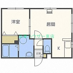 北海道札幌市東区北二十一条東14丁目の賃貸マンションの間取り