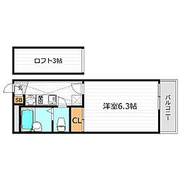 大阪府寝屋川市御幸東町の賃貸アパートの間取り