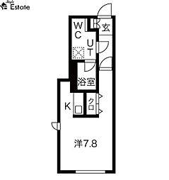 名古屋市営東山線 東山公園駅 徒歩4分の賃貸マンション 2階ワンルームの間取り