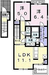 香川県高松市林町の賃貸アパートの間取り