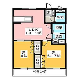 サニーハウス南A[1階]の間取り