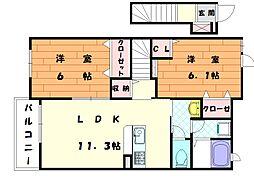 カモミールD[2階]の間取り
