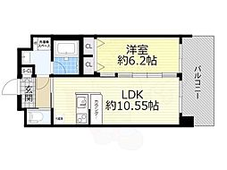 阪急宝塚本線 豊中駅 徒歩4分の賃貸マンション 2階1LDKの間取り
