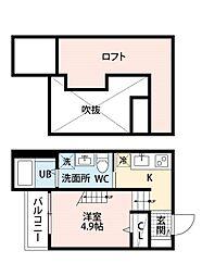 福岡県福岡市東区御島崎2丁目の賃貸アパートの間取り