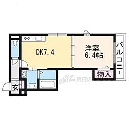 京都地下鉄東西線 椥辻駅 徒歩8分の賃貸マンション 3階1DKの間取り