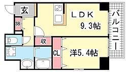 JEUNESSE北野[5A号室]の間取り