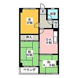 山木ハイツ[4階]の間取り