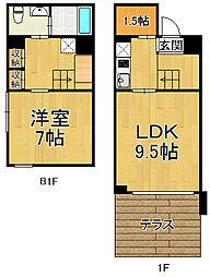 パラシオ夙川名次 地下1階1LDKの間取り