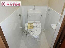 シャワー付きトイレに新品交換。