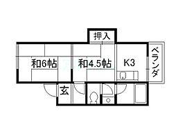 コーポ北畑[1階]の間取り
