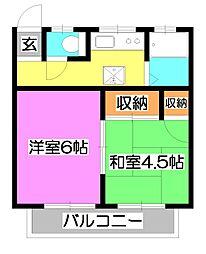 サンハウス松本A[2階]の間取り