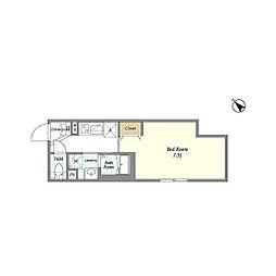 東急目黒線 西小山駅 徒歩7分の賃貸マンション 2階1Kの間取り