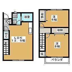 [テラスハウス] 静岡県富士宮市田中町 の賃貸【/】の間取り