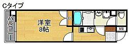 Merry住之江公園 2階1Kの間取り