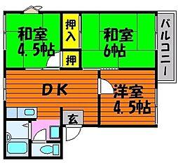 岡山県岡山市北区大安寺東町の賃貸アパートの間取り