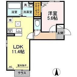 バス 新福下車 徒歩7分の賃貸アパート 1階1LDKの間取り