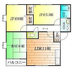 大阪府羽曳野市誉田6丁目の賃貸アパートの間取り