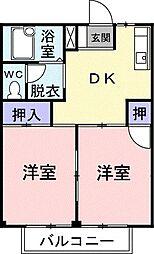 群馬県高崎市上佐野町の賃貸アパートの間取り