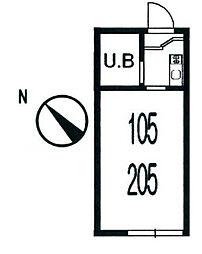 二俣川駅徒歩5分 ハイツ蘭丸205号室[2階]の間取り