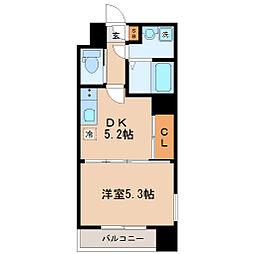 仙台市地下鉄東西線 大町西公園駅 徒歩2分の賃貸マンション 9階1DKの間取り