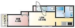 リヒトラーレ菊水 4階1LDKの間取り