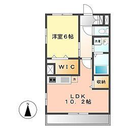 愛知県名古屋市西区平中町の賃貸マンションの間取り
