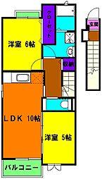 静岡県磐田市東原の賃貸アパートの間取り